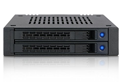 ICY DOCK Wechselrahmen für 2X 2,5 Zoll (6,4cm) SATA/SAS SSD/HDD ExpressCage MB742SP-B