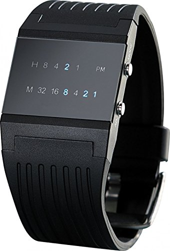 St. Leonhard Binäruhr: Binär-Armbanduhr Future Line mit Blauer Anzeige, für Herren (Digitalarmbanduhr)