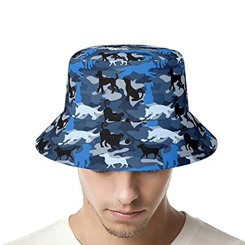 OwlOwlfan Bandera perro azul pesca sombrero sombrero de poliéster ligero sombrero de sol para deportes al aire libre