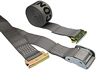 US Cargo Control E Track Cam Buckle Strap - 2 Inch X 16 Foot Gray E Track Strap - Spring E Fittings - Easily Secure Cargo in an Enclosed Van Trailer - 833 Pound Working Load Limit - 10 Pack