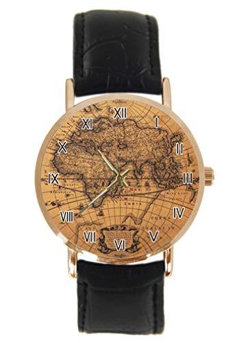 Reloj de pulsera con diseño de mapamundi, unisex, analógico, cuarzo, acero inoxidable, correa de piel