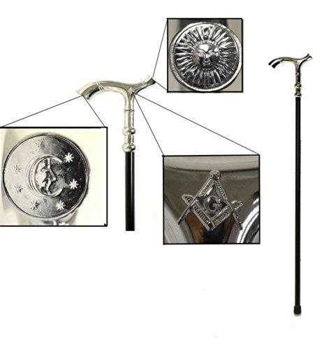 D8016 Masonic Cane Walking Stick Black/Silver