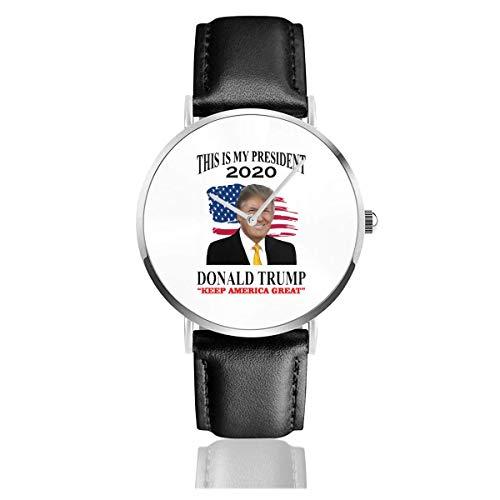 Donlad Truimp 2020 Election USA Keep America Gran Reloj con Correa de Cuero Muñeca de Cuarzo Banda de Cuero Negro y Esfera Fina