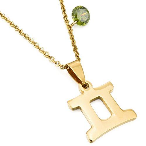 MunkiMix Acero Inoxidable Vidrio Glass Colgante Collar Géminis Constelación Horóscopo Zodíaco Oro Dorado Tono Hombre,Mujer,Cadena