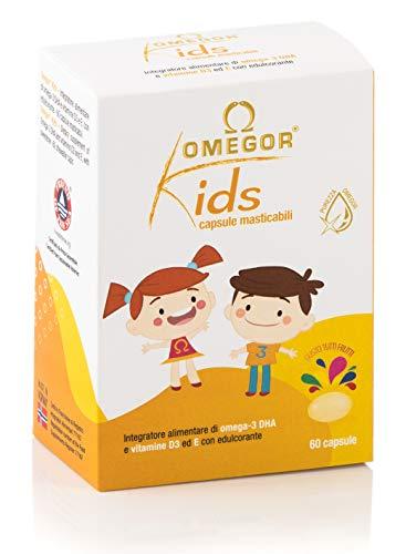 Omegor Kids capsule | 250mg di omega-3 DHA per bambini | Squisite capsule morbidi, in gelatina di pesce, dolcificate e masticabili | Gusto tutti i frutti, 60 cps