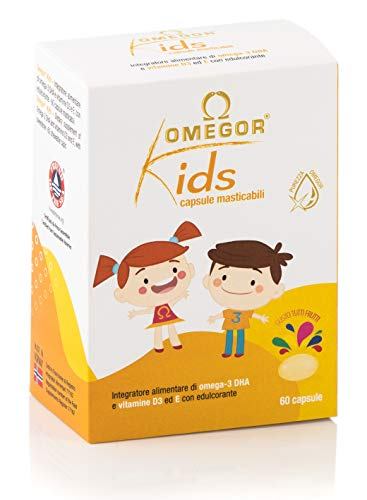 Omegor Kids - Cápsulas Blandas, en Gelatina de Pescado, Endulzadas y Masticables, 250 mg de omega-3 DHA, 60 Cápsulas
