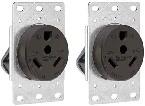 2021 Legrand - Pass & Seymour 3830CC6 Industrial-Strength Flush-Mount Power Outlet for RVs, new arrival Dryers & Ranges | Travel Trailer Outlet 30A, 125 Volt, 2-Pole, 3-Wire,Black (Тwo online sale Рack, Black) online sale