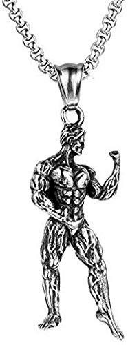 LBBYMX Co.,ltd Collar de Moda de Acero Inoxidable Show Muscle Power Gym Fitness Hombre Hombres Collares Colgantes de Cadena para Hombre Novio Accesorios de joyería Regalo