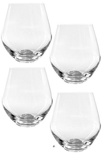 Set 4 Bohemia Crystal Stemless Wine Goblet Glasses