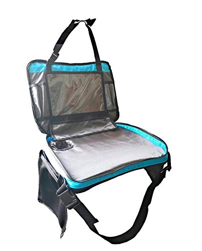 Kids Travel Tray with Versatile Detacheable Top & Bottom Parts for Best fit. 4 in 1 Car Seat Organizer, Lap Table, Carry Bag and Large Tablet Holder for Toddlers. Odorless Foam Insert