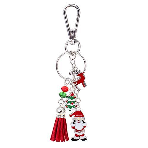 Gofeibao llaveros Originales llaveros Mujer Navidad Estilo Llavero Rojo Llavero Borla Llavero Llavero del árbol de Navidad Hecho a Mano Regalo