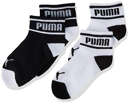PUMA Baby Wording Socks (2 Pack) Calzini, Nero/Bianco, 19-22 (Pacco da 2) Unisex-Bimbi