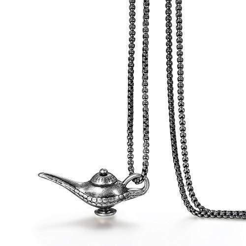 JewelryWe Schmuck Edelstahl Aladdin Magische Lampe Anhänger mit 70cm Kette, Retro Halskette für Herren, Silber