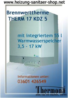 Gastherme Brennwerttherme Gaskombitherme 17 KDZ 5 für Erdgas E