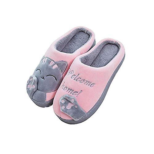 MoneRffi Unisex Katzen Hausschuhe Damen Winter Warm Plüsch Pantoffeln Paar Hausschuhe Weiche Bequeme Katze Pantoffeln rutschfeste Hausschuhe für Herren Mädchen Jungen (Pink,40-41 EU)