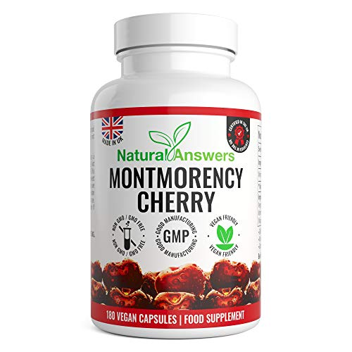 Montmorency Cherry | Cherry Extract 1100mg | 180 Capsules | High Strength Montmorency Cherries | UK Manufactured to GMP for Consistent High Quality | Vegan Friendly Capsules | Trusted Brand