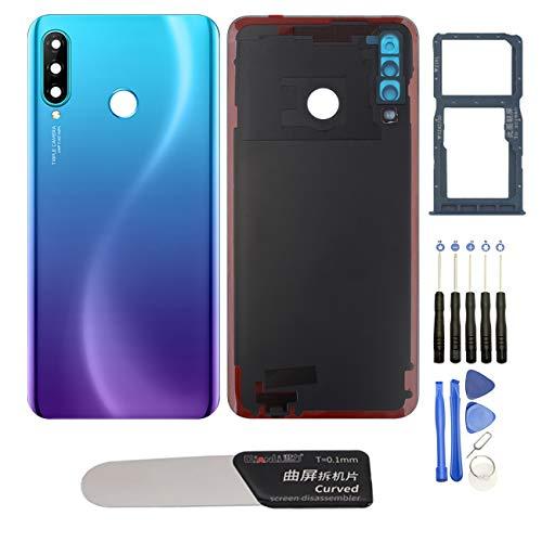 YHX-OU - Tapa de batería trasera de repuesto para Huawei P30 Lite 6G Nova 4E de 6,15 pulgadas + herramienta de instalación + 1 tarjeta SIM (Aurora-Blue)