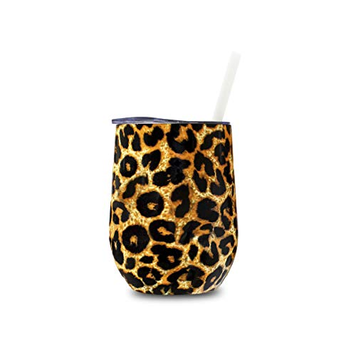 Creamole 12 oz Wine Tumbler - Stainless Steel Wine Tumbler with Lid and Straw - Double Wall Insulated Wine Tumbler for Coffee, Cocktails, Wine, Mulled Wine, Ice Cream - 12 oz Leopard Print