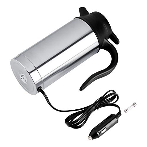 Mkcether Portable Car Electric Kettle Travel Car Cigarette Lighter DC12V/24V 750ml Stainless Steel Car Electric Heating Mug Drinking Cup Travel Kettle for Water Tea Coffee Milk Auto Shut Off