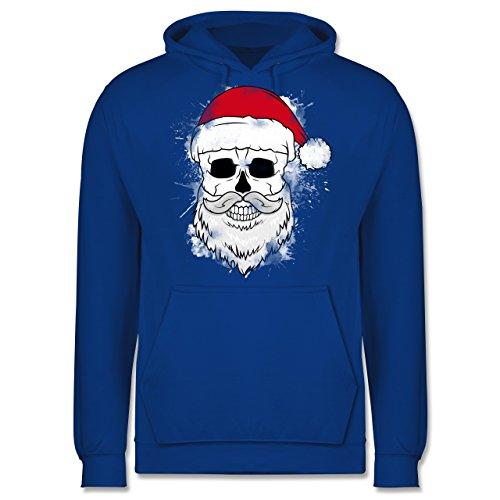 Weihnachten & Silvester - Totenkopf mit Weihnachtsmütze und Bart - XXL - Royalblau - Weihnachts Hoodie mit totenköpfen - JH001 - Herren Hoodie und Kapuzenpullover für Männer