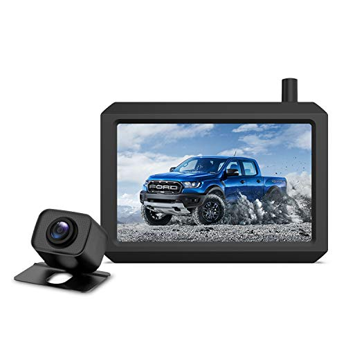 """Upgrade 720P Digital Wireless Backup Camera,2 Cameras Channel Support, AUTO VOX W7PRO 5"""" TFT Monitors and IP68 Waterproof Wireless Rear View Camera for Car,Trucks,Trailer"""
