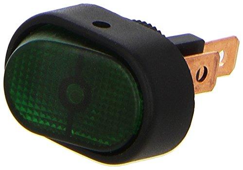 HELLA 6EH 007 946-001 Schalter - Kippbetätigung - Anschlussanzahl: 3 - geschraubt - Bohrung-Ø: 12mm - Wechsler - Schalterbeleuchtung: grün