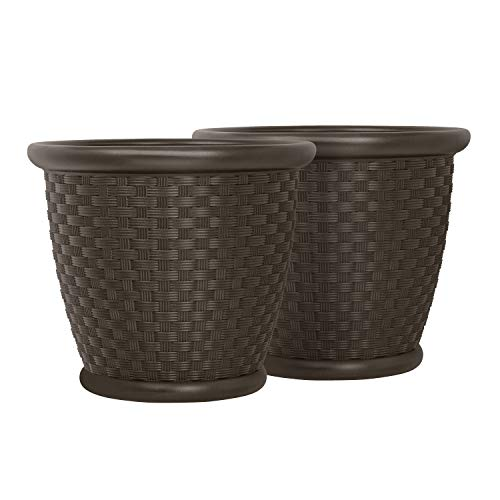 Suncast 22' Sonora Resin Wicker Planter Contemporary Lightweight Flower Pot for Indoor and Outdoor Use, Home, Yard, or Garden, Set of 2, Java