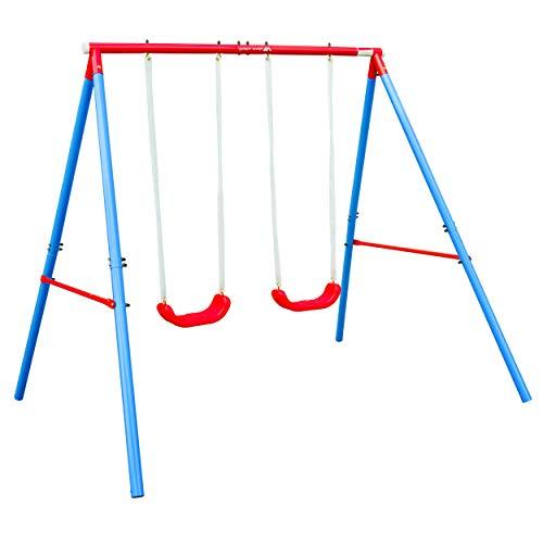 Silver Valley Columpio de jardín al aire libre con 2 asientos de oscilación doble marco de acero para niños
