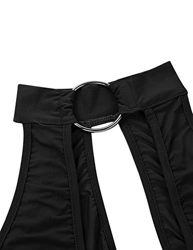 FEESHOW Women's One Piece See Through Mesh Sheer Zipper Crotch Turtleneck Bodystocking Teddy Bodysuit