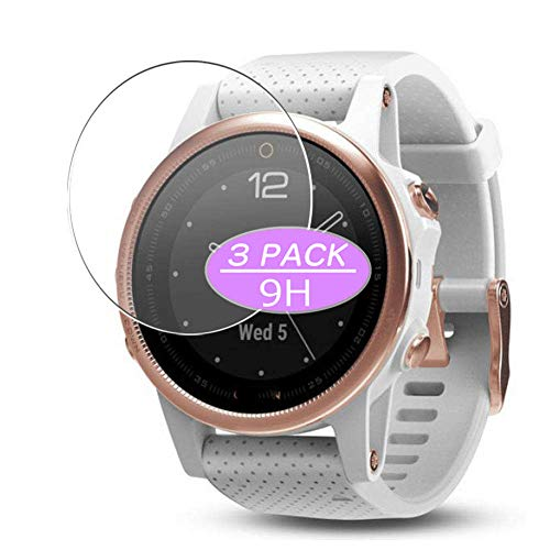 [3 Pack] Synvy Tempered Glass Screen Protector, Compatible with Garmin Fenix 5S Sapphire 9H Film Protectors