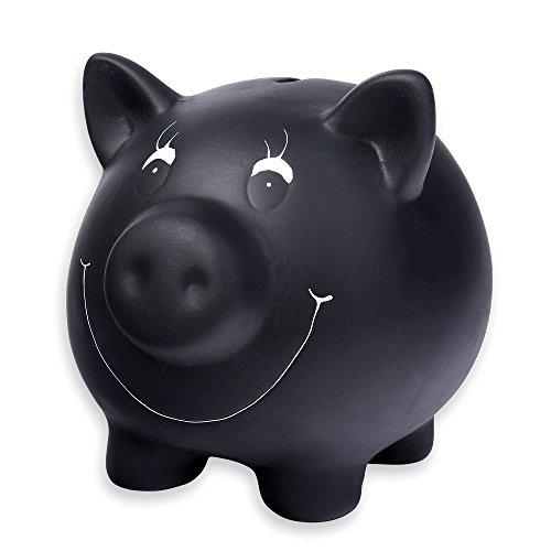 Schramm® Hucha de cerámica Negra con Barniz de Pizarra escribible con Tiza Hucha de Cerdito con Tiza y bloqueable