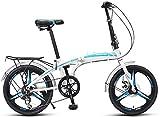 Aoyo Erwachsene Falträder, 20' High-Carbon Stahl Folding Stadt-Fahrrad, faltbares Fahrrad mit Rück Carry Ständer, Doppelscheibenbremse Fahrrad, (Color : Blue)