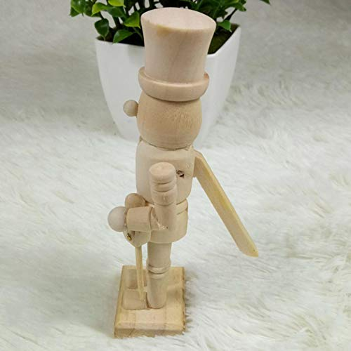 danio 12 cm Cascanueces de soldado con color y bolígrafo/muñeca de madera, figura festiva, decoración navideña/blanco/embrión