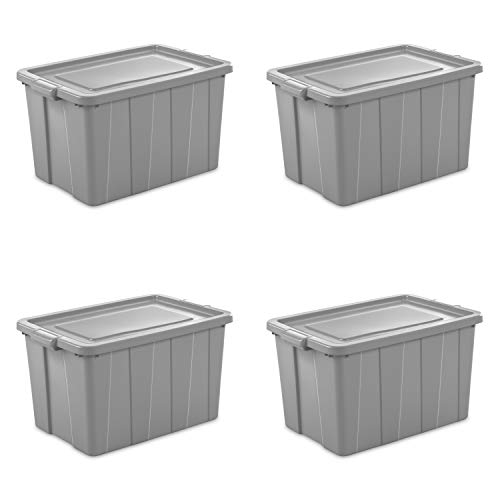 Sterilite 16796A04 Storage Tote, 30 gallon, Cement Lid and Base (Pack of 4)