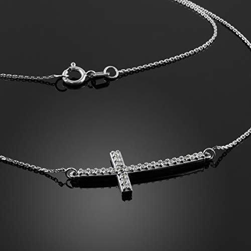 14 ct White Gold Sideways Curved Cross CZ Pendant Necklace Necklace (Available Chain Length 16'- 18'- 20'- 22') B