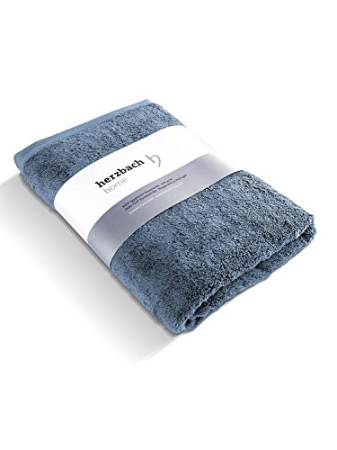 herzbach home Handtuch Badetuch Premium Qualität aus 100% ägyptischer Baumwolle 100 x 150 cm 600 g/m² extra weich (Graublau)