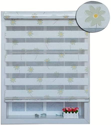 Persianas enrollables de doble capa para dormitorio, cocina, baño, fácil instalación con soportes universales para ventanas