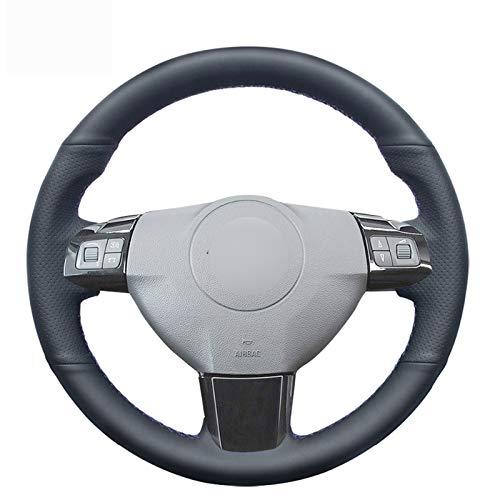 JTSGHRZ Lenkradabdeckung Für Opel Astra H Zaflra B 2005-2009, handgenähte Schwarze Autolenkradabdeckung aus echtem Leder