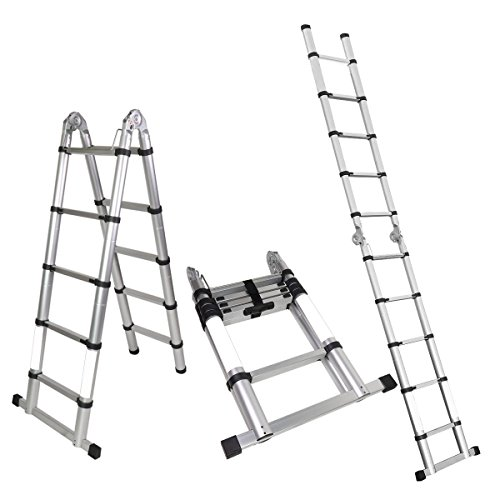 Magshion A-Frame Aluminum Ladder Telescopic Extension Tall Multi Purpose EN131 (10.5 FT)