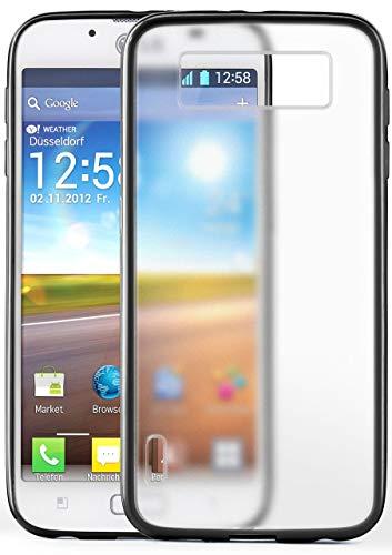 moex Matte Schutzhülle [Transparent] passend für LG P700 Optimus L7 | Inkl. 360° Rundumschutz [Raised Lip] + Farblich abgesetzter Rand, Schwarz
