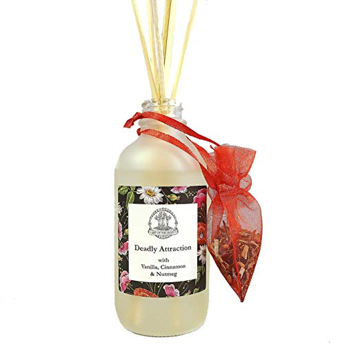 Deadly Attraction Reed Diffuser with Botanical Herbs & Essential Oils. Features Vanilla. Cinnamon & Nutmeg. for Love, Romance, Seduction, & Passion