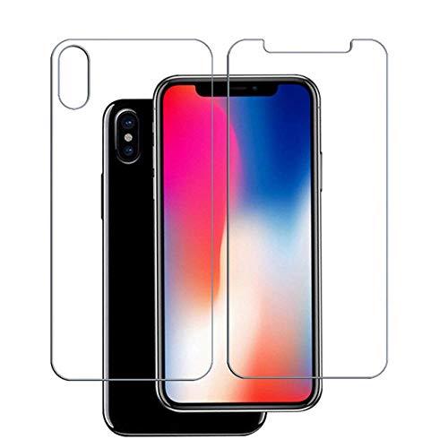 3 Pezzi Vetro temperato Anteriore + Posteriore = 3 Pezzi Vetro per iPhone XS Max XR XS X 8 7 6 6S Plus 5S 5 SE 5C 4 4S Pellicola Protettiva per Vetro temperato@per iPhone XS Max_Davanti e Dietro