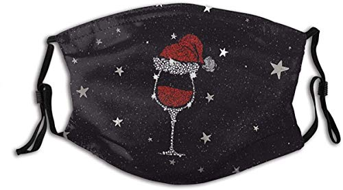 Glass of Wine Christmas Face Mask Anti Dust with Filter Adjustable Reusable Bandana Washable For Women & Men