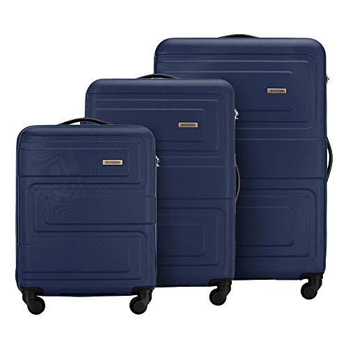 WITTCHEN Robusta Maleta Trolley de 3 Piezas de Viaje, Estuche rígido ABS 4 Ruedas combinación de Equipaje con Cerradura S-M-L-Set Azul Oscuro