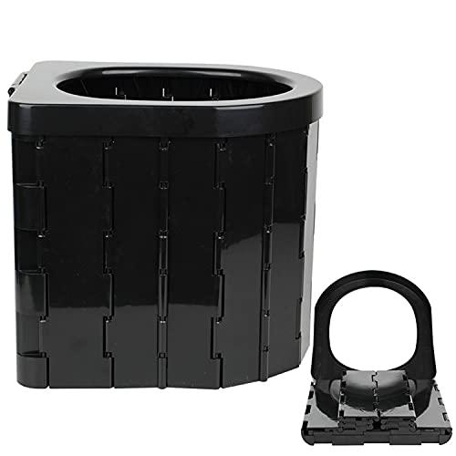 NLCYYQ Taburete plegable para inodoro de coche, con asiento ligero, con 12 bolsas de limpieza, apto para camping, viajes, atascos de tráfico (negro)