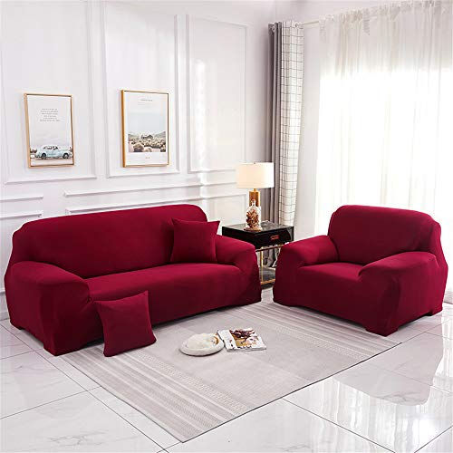 Surwin Funda de Sofá Elástica para Sofá de 1 2 3 4 plazas, Impresión Universal Cubierta de Sofá Cubre Moda Sofá Antideslizante Sofa Couch Cover Protector (Vino Tinto,3 plazas - 190-230cm)