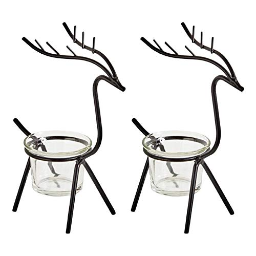 LIUJUAN Candlestick Holders Wooden Candle Holders 2Pcs Iron Art Candlestick Silver Cup Reindeer Tea Light Holder Christmas Table Candle Holder Tea Light Stand For Party Table-Black