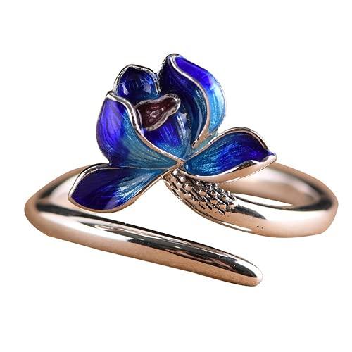 S925 plata quemada azul joyería anillo pequeño fresco femenino abierto flor de loto anillo