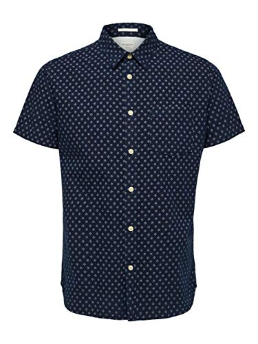 SELECTED HOMME Herren SLHSLIMMATTHEW Shirt SS AOP W Hemd, Dark Sapphire AOP:AOP, XL