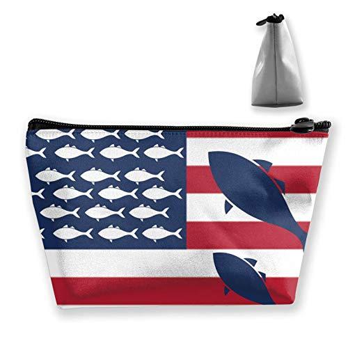 Bolsa de aseo para mujer y niña, suave, bolso de mano, mini monedero, carteras de maquillaje, diseño de camuflaje, alce, ciervo, oso de peces, bosque de animales, patrón de animales